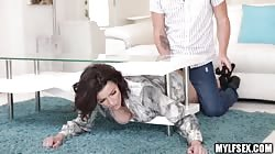 MILF Gets Stuck Under a Table And Gets Help Getting Out With a Fuck